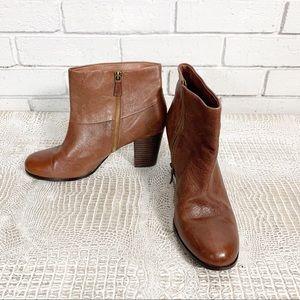 Cole Haan Nike Air Cognac Brown Leather Booties